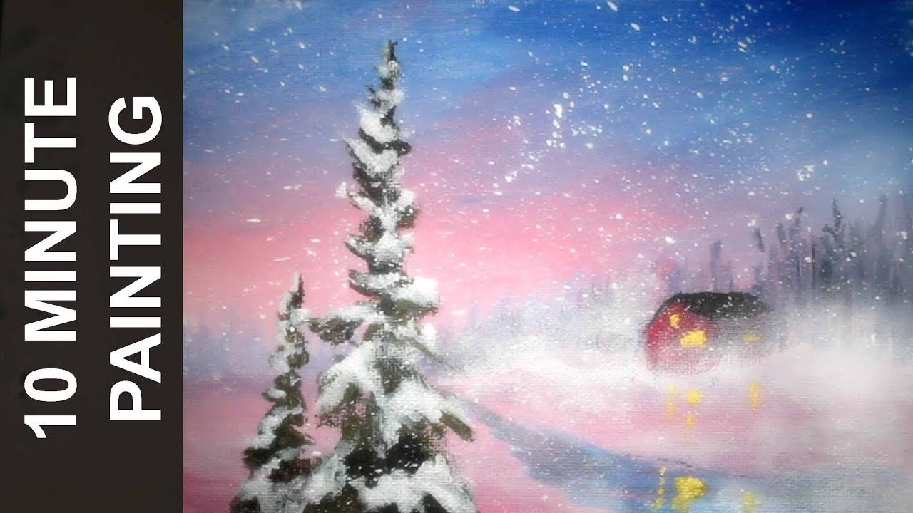 Painting A Pink Sky Winter Wonderland Landscape In 10 Minutes With Acrylics Youtube Landscape Painting Tutorial Holiday Painting Painting