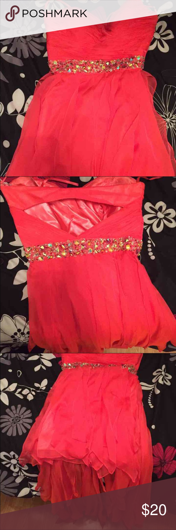 Homecoming/prom dress Pink fusia dress only worn once. Long in the back, short in the front. Dresses Strapless