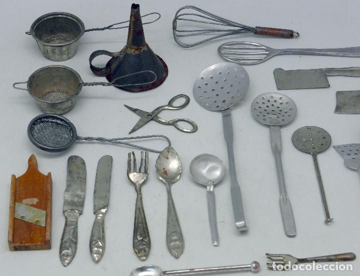Juguetes antiguos de hojalata: Lote utensilios cocina casa muñecas ...