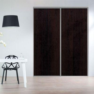 Porte coulissante en mélaminé effet bois réalisée sur-mesure  chêne - Peindre Des Portes En Bois
