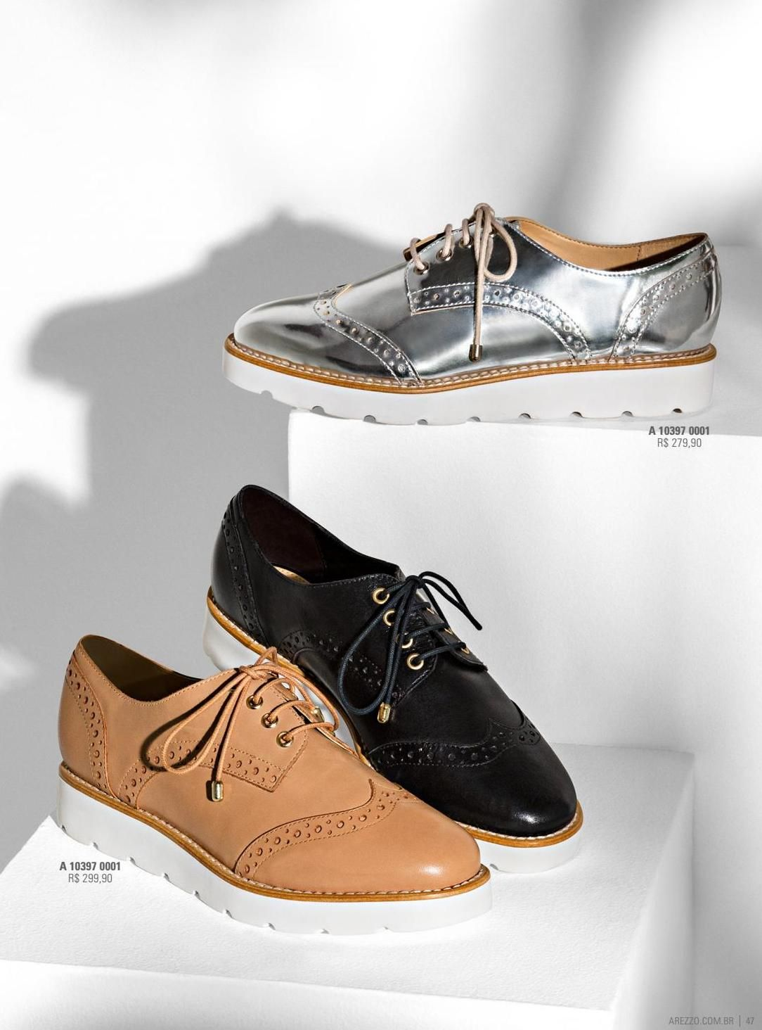 f29d05bfe Oxford Solado-Branco Couro Nude-Rose   Arezzo   Clothing, shoes, jewelry  and more... em 2019   Shoes, Girls shoes e Fashion shoes