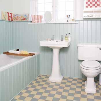Retro-Badezimmer im Stil der 50er Jahre werden durch Pastelltöne - badezimmer fliesen streichen