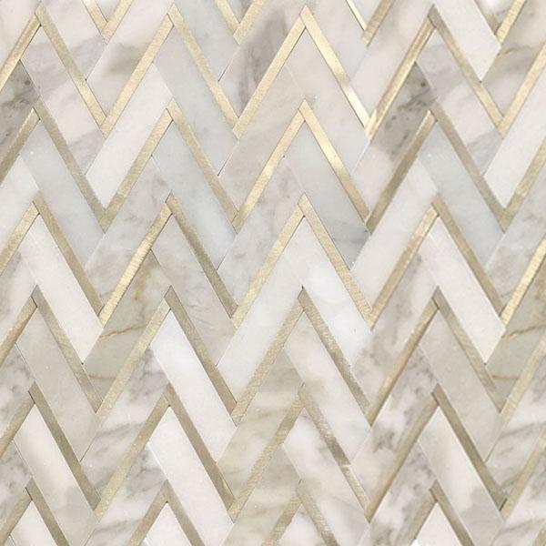 Calacatta Herringbone With Gold Aluminum Mosaic Polished 1 Sf In 2020 Calacatta Mosaic Gold
