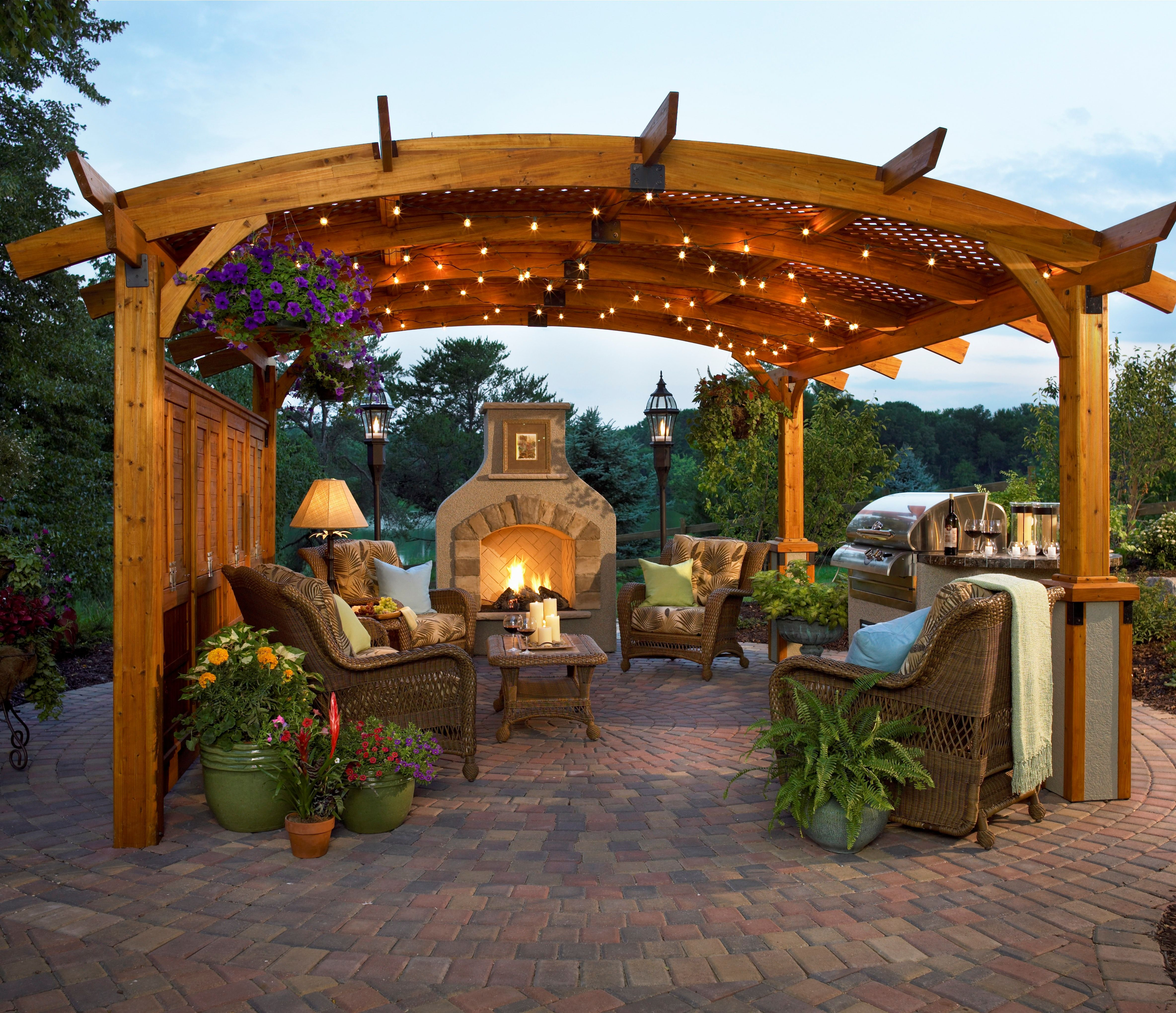 This Pergola Is Equipped With A Fire Place Comfortable Furniture