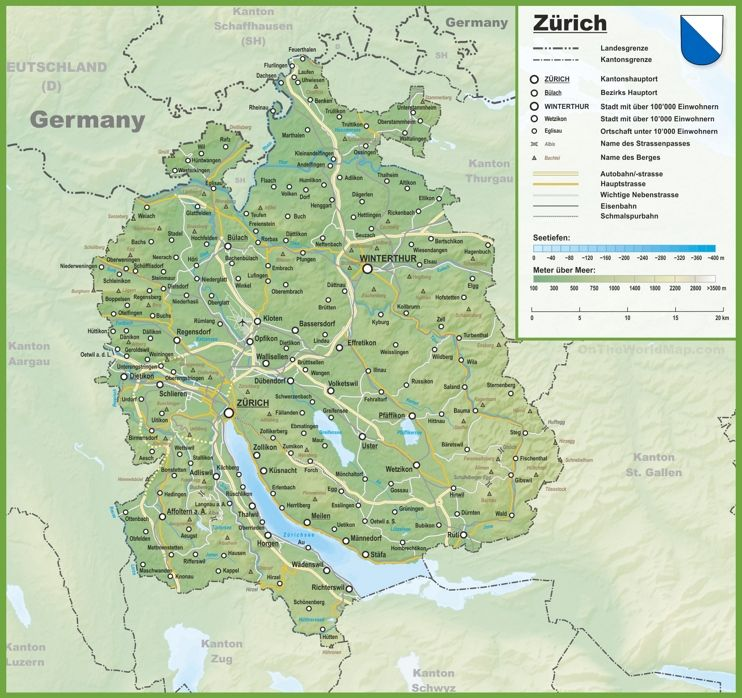 Canton of Zrich map with cities and towns Maps Pinterest
