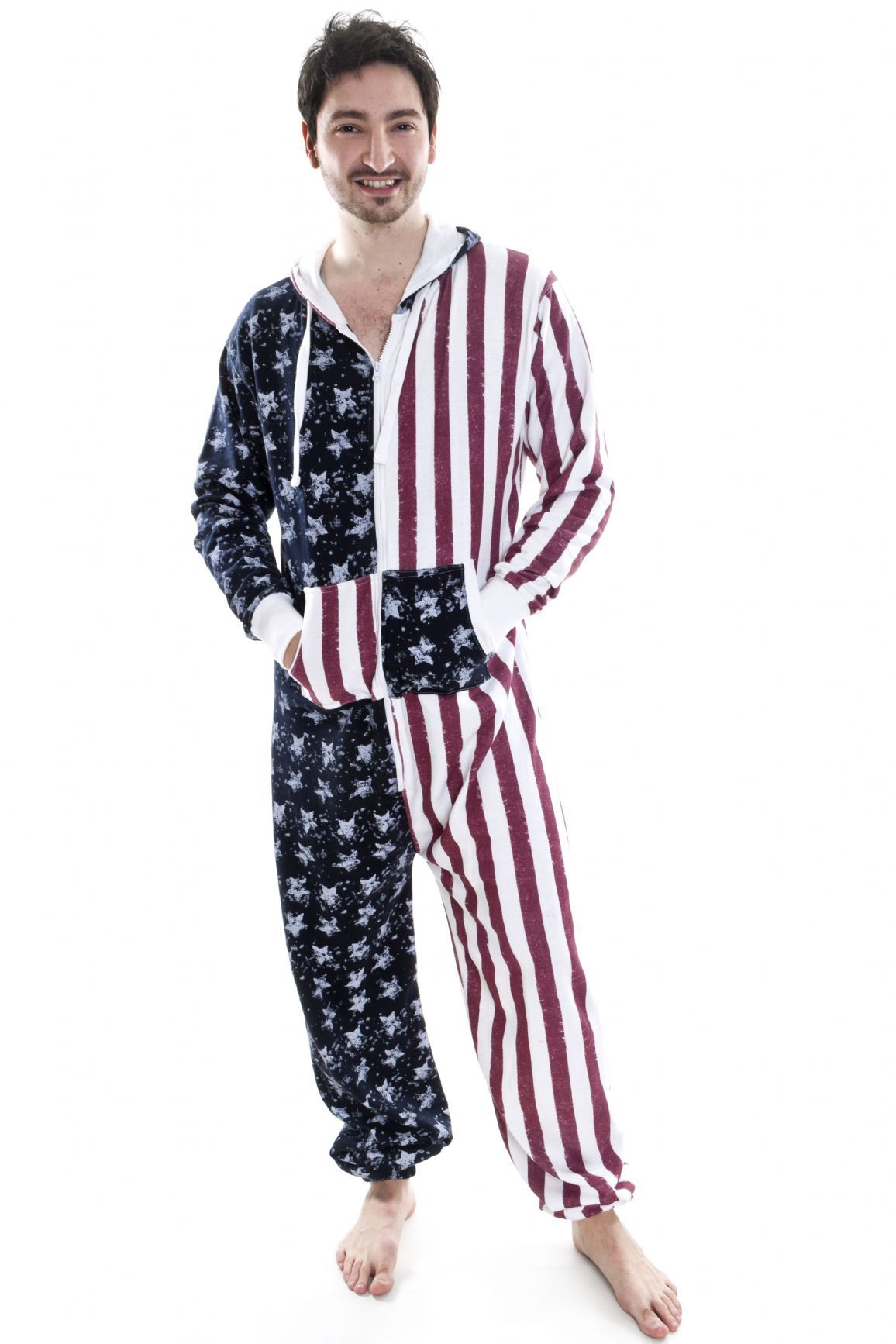 American Stars and Stripes Printed All In One USA Mens Women s Onesie 4417fb952