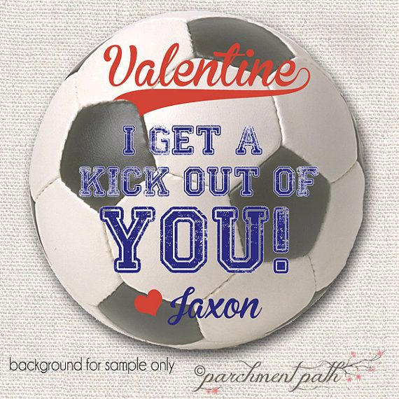 I Get A Kick Out Of You Soccer Valentine Stickers Or Favor Tags    Personalized Valentine Cards   Printable Valentine   Soccer Valentines On  Etsy, $u2026