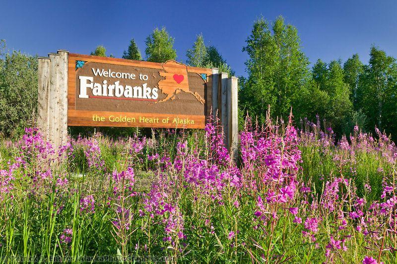 Welcome to Fairbanks sign, Fireweed, Fairbanks, Alaska