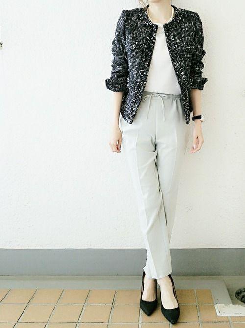 コマさん Estnationのノーカラージャケットを使ったコーディネート Wear ファッション 衣類 ツイードジャケット レディース