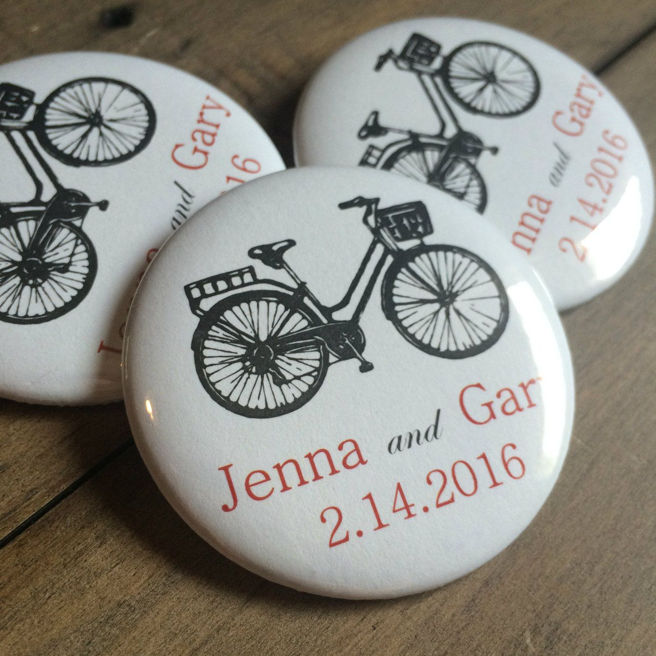 Vintage Bicycle Wedding Favor Button Pins - Set of 10 | Wedding ...