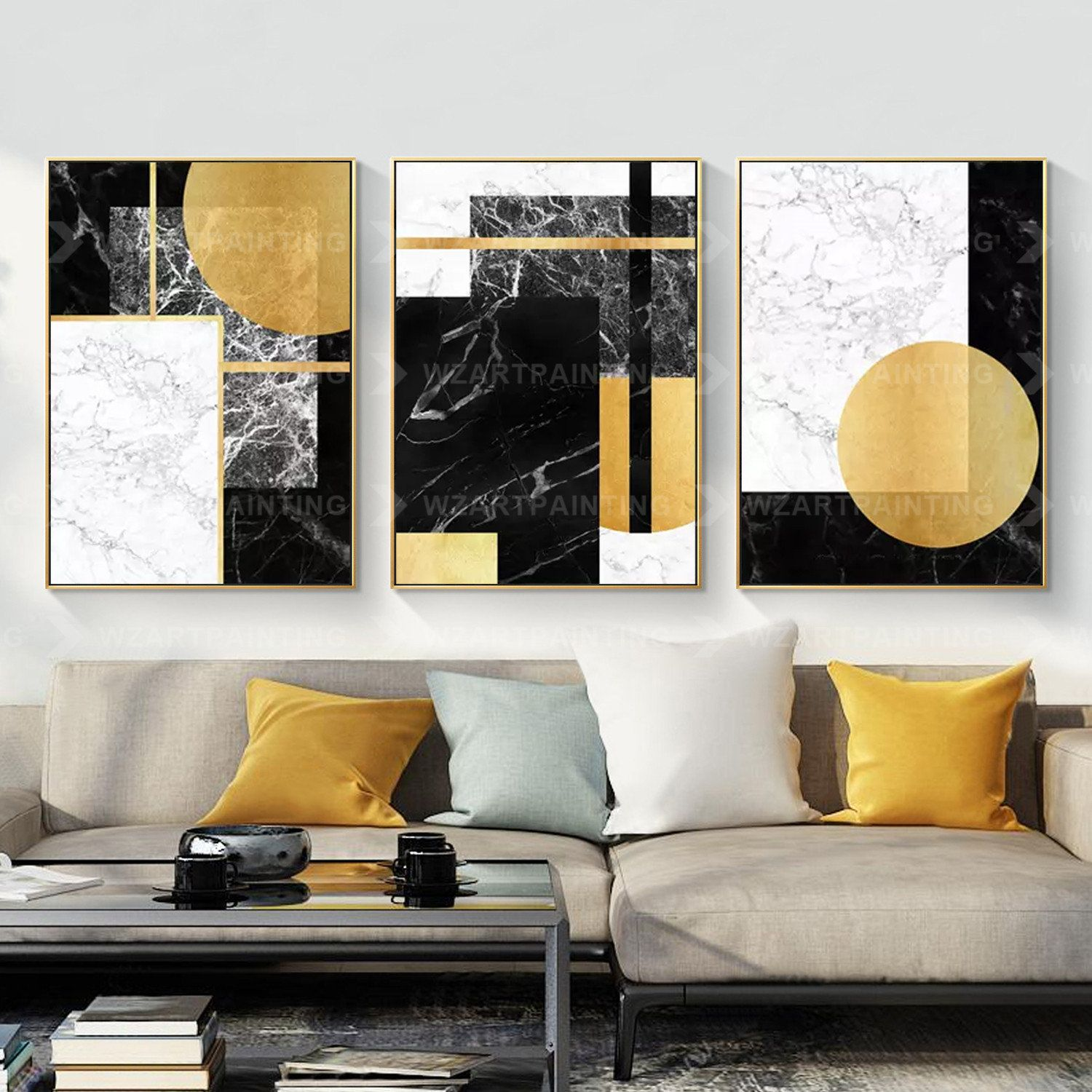Framed Wall Art Set Of 3 Prints Geometric Gold Black Abstract Etsy Frames On Wall Framed Wall Art Sets Framed Wall Art