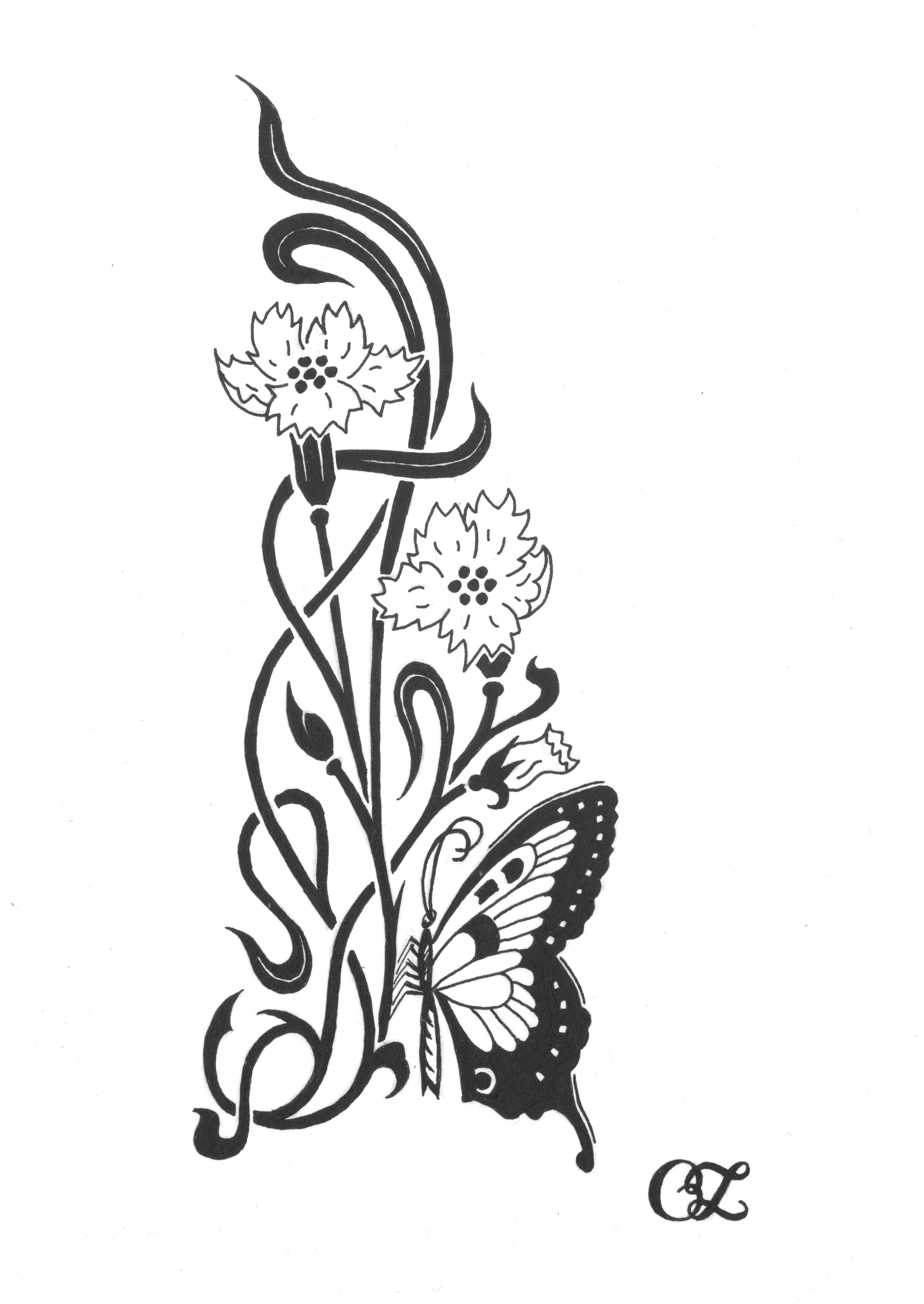 Art Nouveau Flower Tattoo: Art Nouveau
