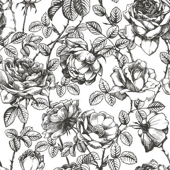 Carta Da Parati Floreale Bianco E Nero.Black And White Floral Wallpaper Nursery Wallpaper Disegni Di