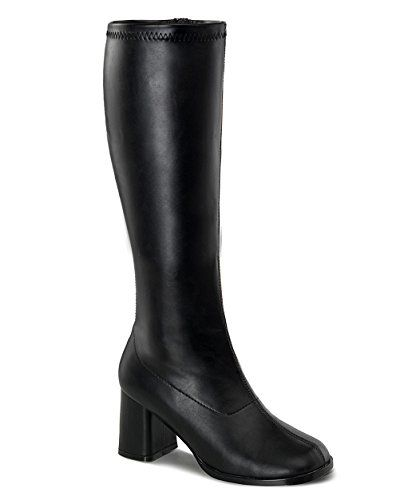 47921412fa2 Womens Knee High Boots GOGO 3 Inch Wide Calf Sexy Block Heel Knee Boot  Black (Larger Sizes)