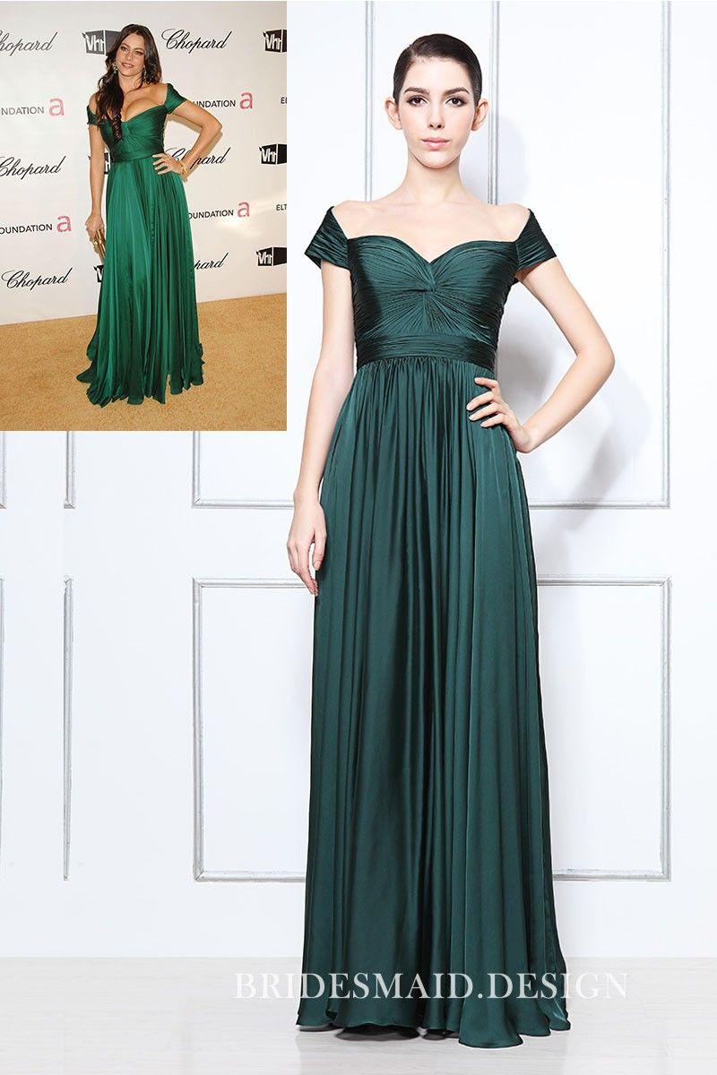 Sofia Vergara Inspired Celebrity Bridesmaid Dress Off The Shoulder Dark Green Pleat Green Evening Dress Celebrity Prom Dresses Bridesmaid Dresses Long Chiffon [ 1200 x 800 Pixel ]