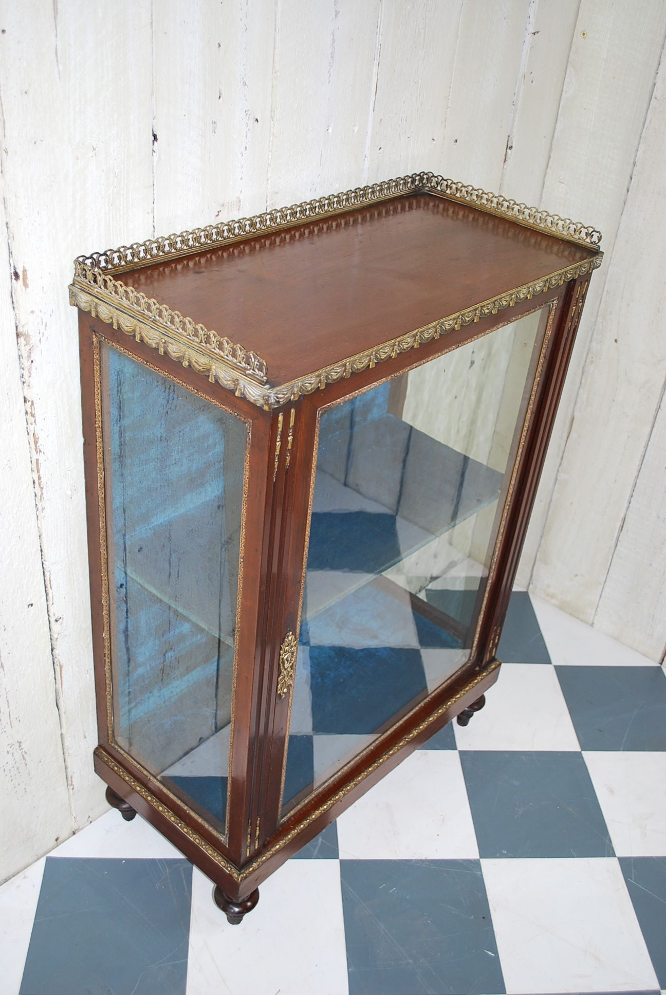 Antique farmhouse table small mahogany display cabinet with ormolou mounts for sale in uk
