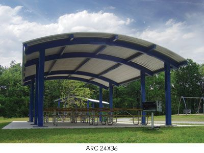 Arched, Curved Roof Shelters, Square or Rectangle