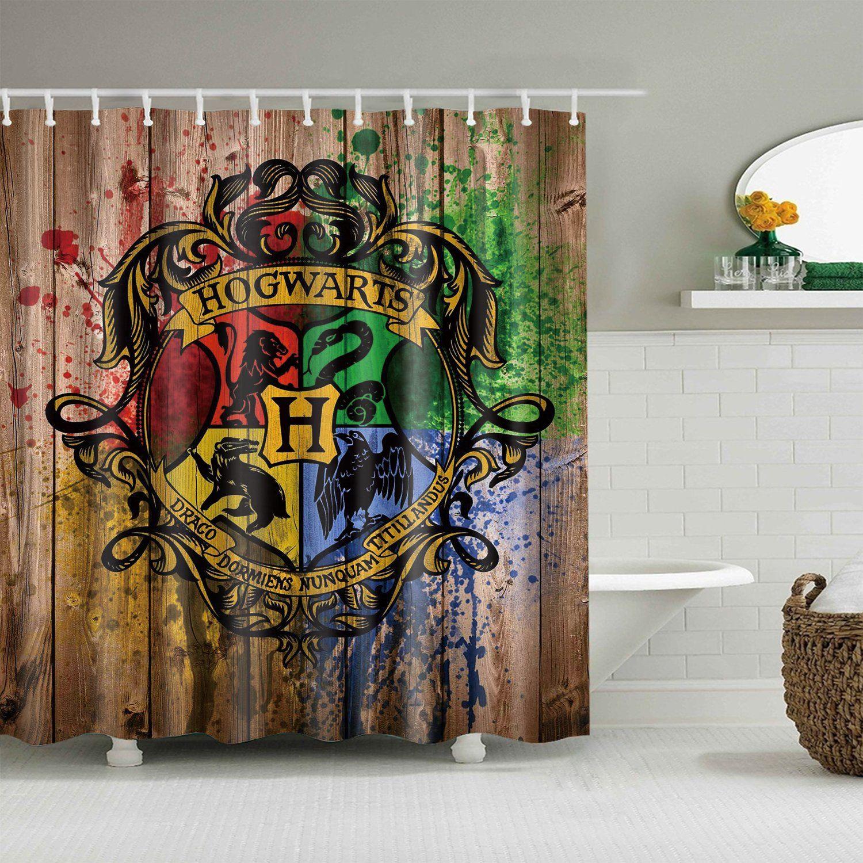 Hogwarts Wooden Print Colorful Logo Gryffindor Crest Harry Potter