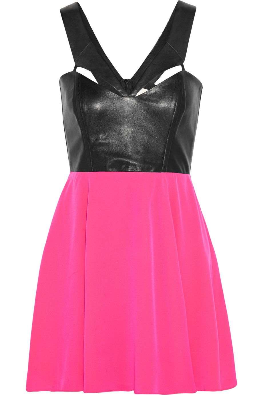 be6f0d9337f Color-block leather and silk mini dress - Mason by Michelle Mason black and  bright-pink mini dress- Made in the USA- Leather