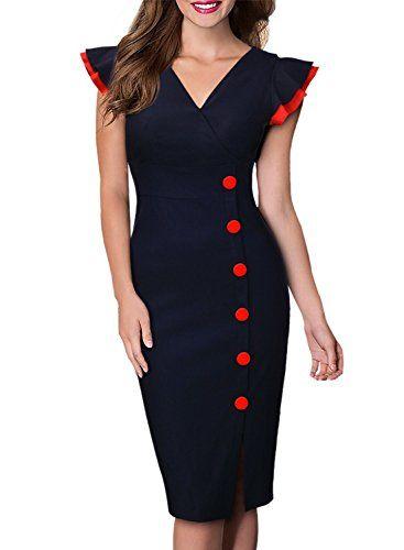 bd8551f3ed Miusol Women s Navy Style Deep-V Neck Cap Sleeve Vintage Cocktail Pencil  Dress
