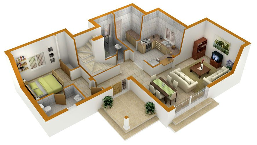Perfect 3d house blueprints and plans with 3d floor plans for Small house plan design 3d