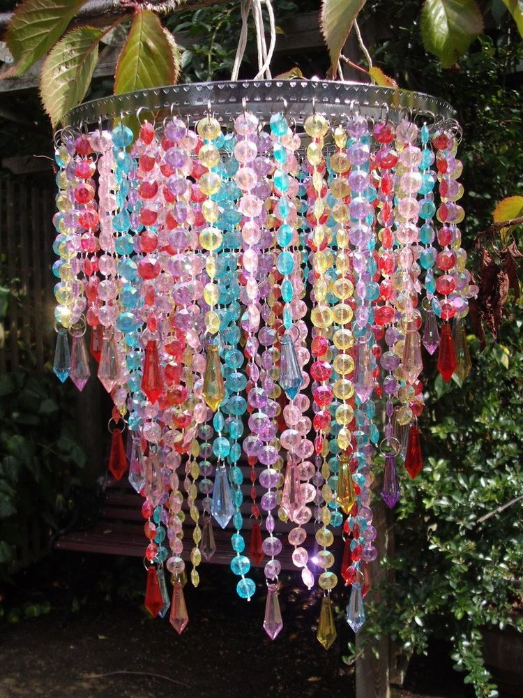 Pretty 3 Tier Multi Colour Beaded Chandelier Lightshade Mardi Gras Style Beads