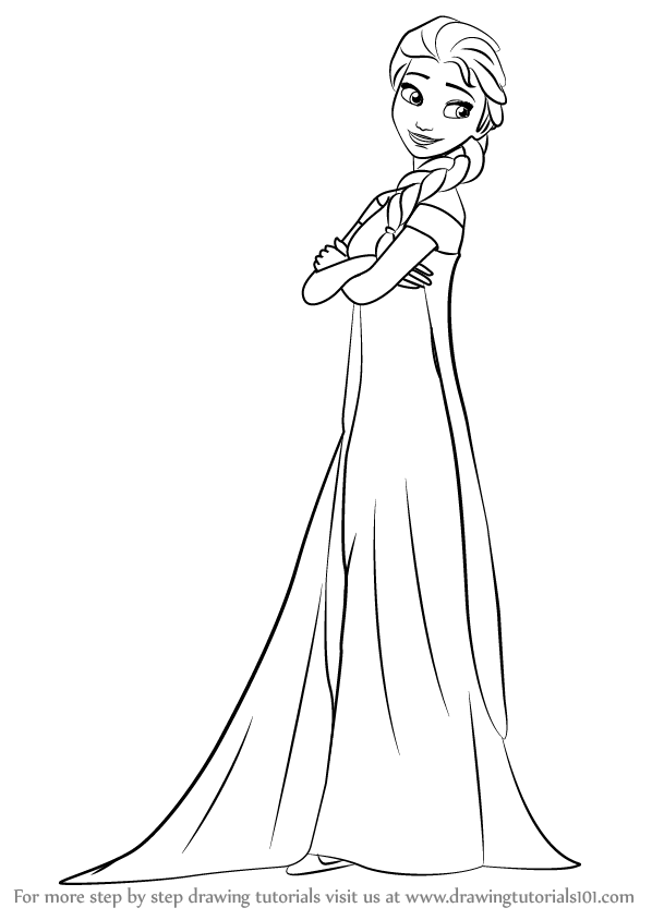Learn How To Draw Elsa From Frozen Fever Frozen Fever Step By Step Drawing Tutorials Frozen Drawings Disney Character Drawings Elsa Coloring Pages