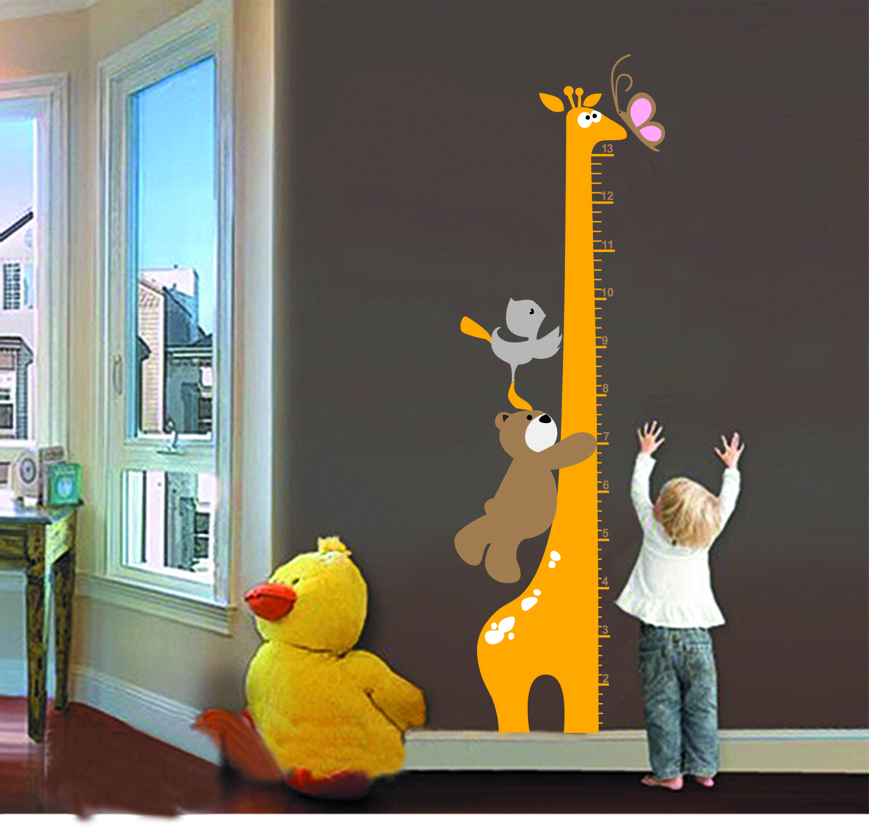 Centimeter height measurement growth chart with cartoon giraffe new cartoon giraffe bear children kid growth height chart removable wall sticker instructions the surface is smooth do not stick on the rough or geenschuldenfo Image collections
