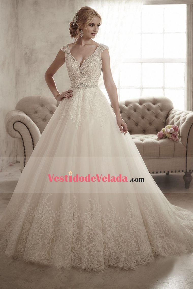 9a322b8234 2016 Vestidos de novia Línea A Cuello V manga cubierta Cremallera de detrás  Applique