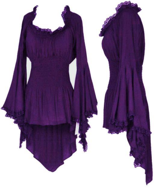 Gypsy Bohemian Peasant Top in Eggplant Purple