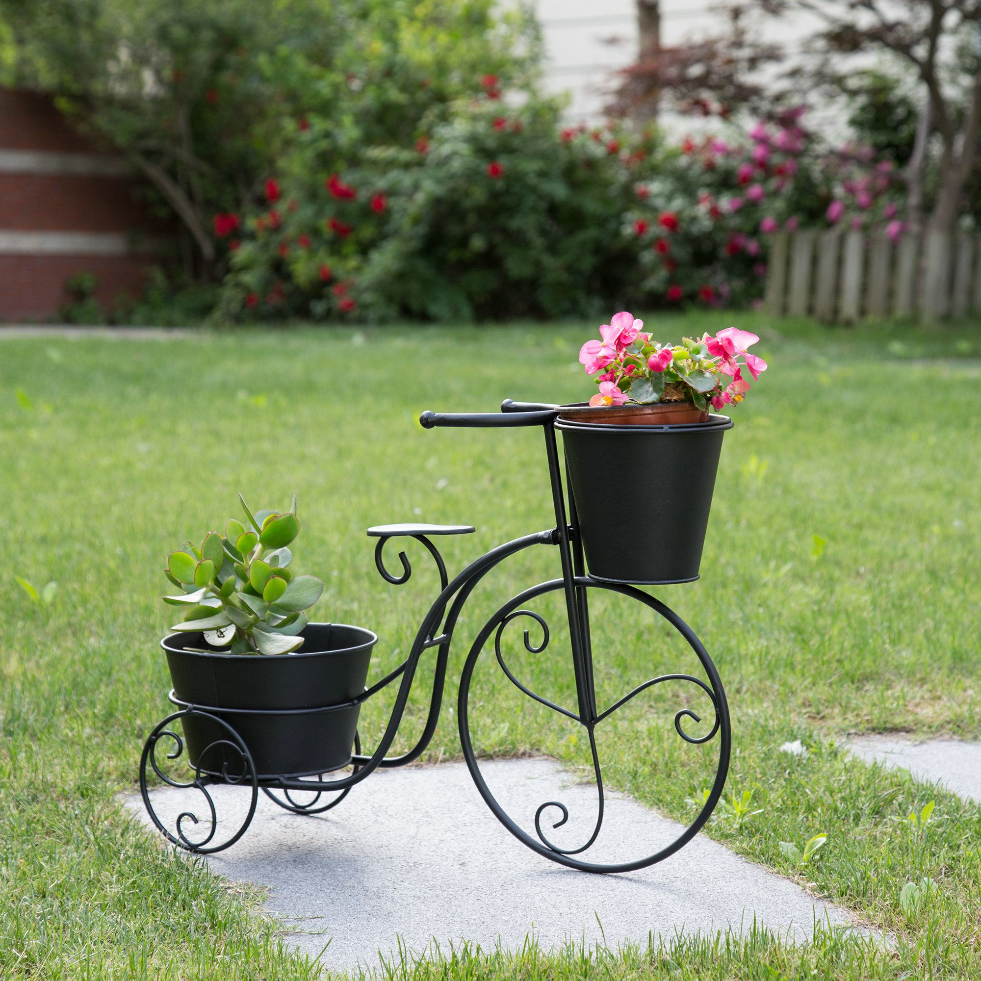 Glitzhome metal standing planter hand painted flower
