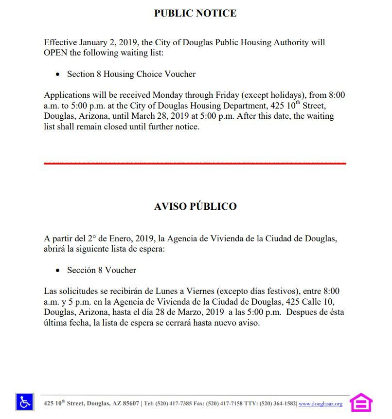 01 08 19 Arizona Housing Under Helpful Links Http Www Douglasaz Gov 242 Section 8 Housing Choice Voucher Program Section 8 Housing Section 8 Waiting List