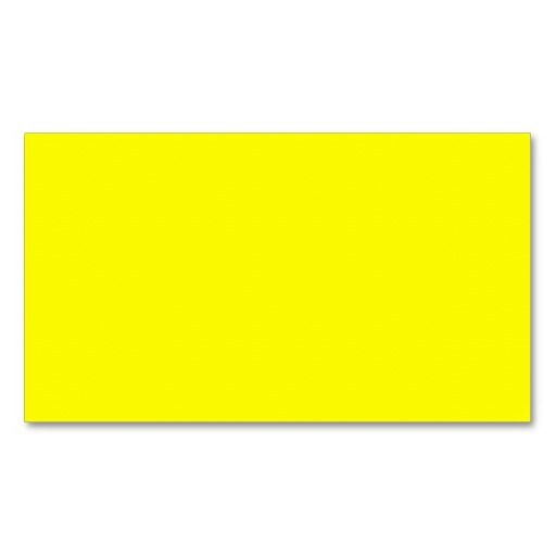 Pure Yellow  Neon Lemon Bright Template Blank Business Card