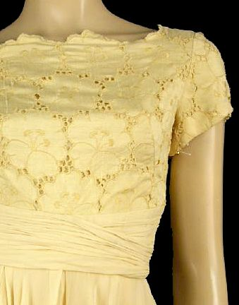 pale yellow eyelet linen and silk georgette