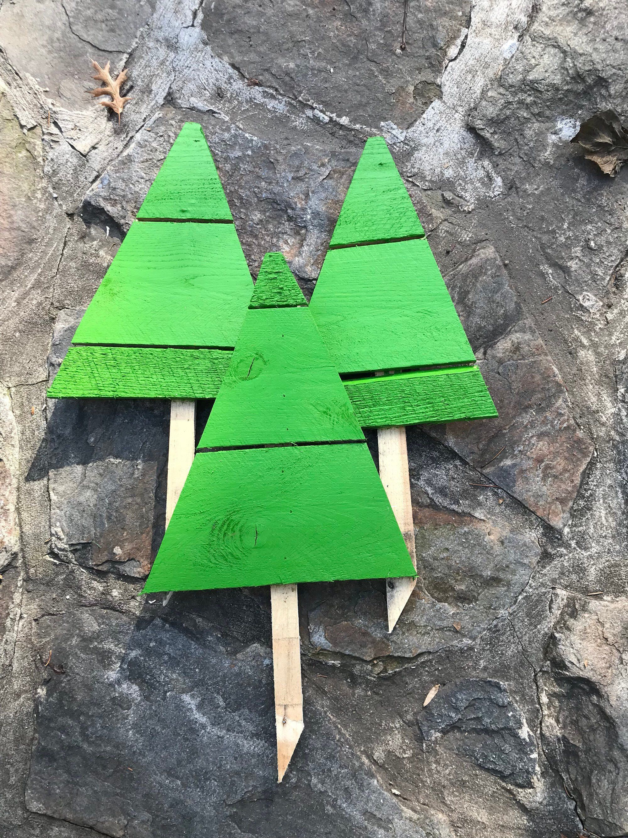 Christmas Tree Yard Stakes Set Reclaimed Wood Stakes Winter Etsy Winter Outdoor Decorations Christmas Tree Yard Stakes Christmas Yard Decorations