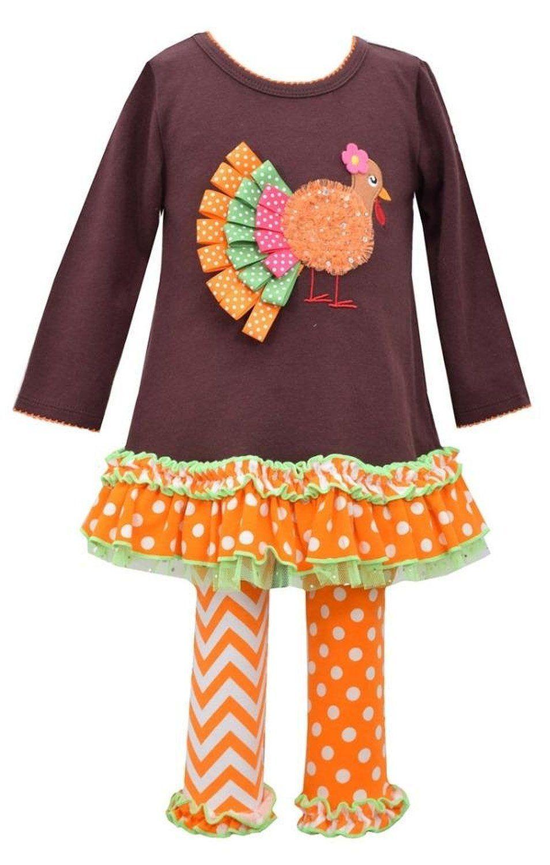 05ba9e5e933 Bonnie Jean Little Girls Ribbon Turkey Appliqued Legging Set (2T ...