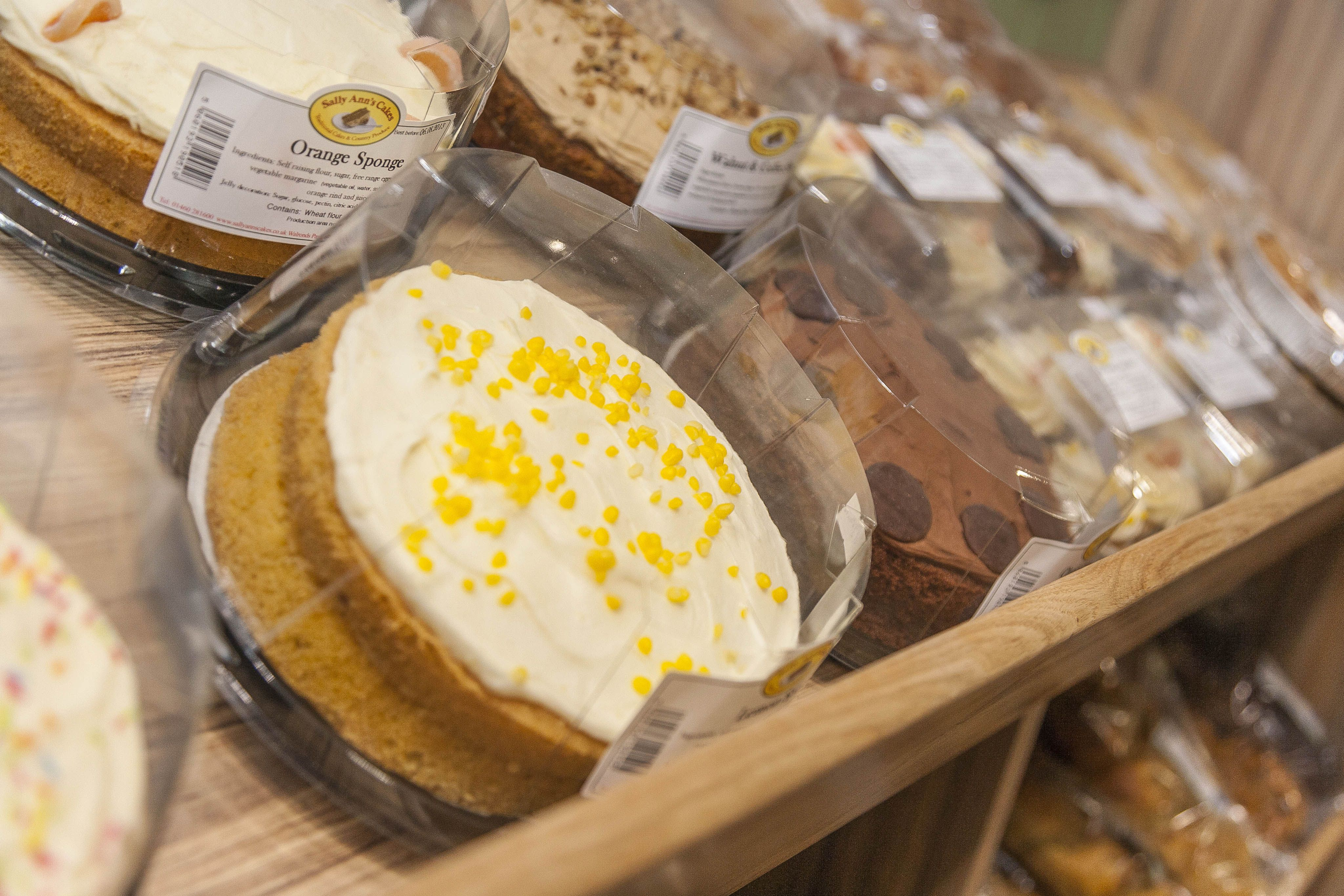 handmade cakes at Cheddar Woods Farm Shop, Somerset