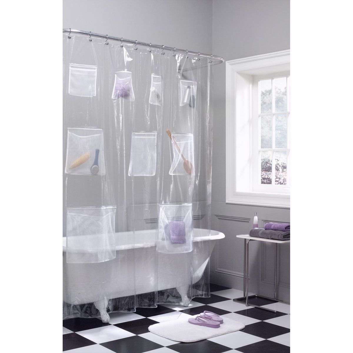 Maytex mills mesh pockets peva vinyl shower curtain immense