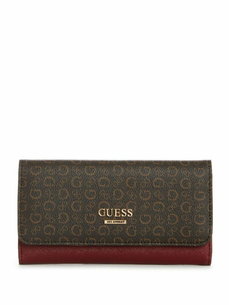 GUESS COOL CLASSIC FRAME CLUTCH Gold-Tone Hardware Wallet for Women/'s Black
