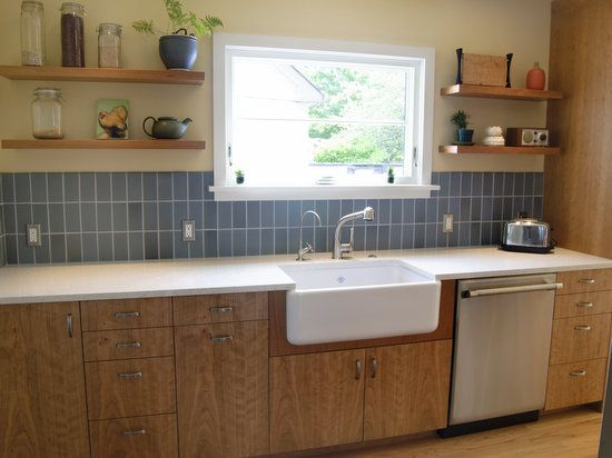 Vertical Subway Tile And Cherry Cabinets Portfolio