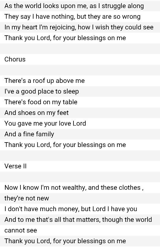 There's A Roof Up Above Me Lyrics : there's, above, lyrics, Thank, Blessings, Lyrics