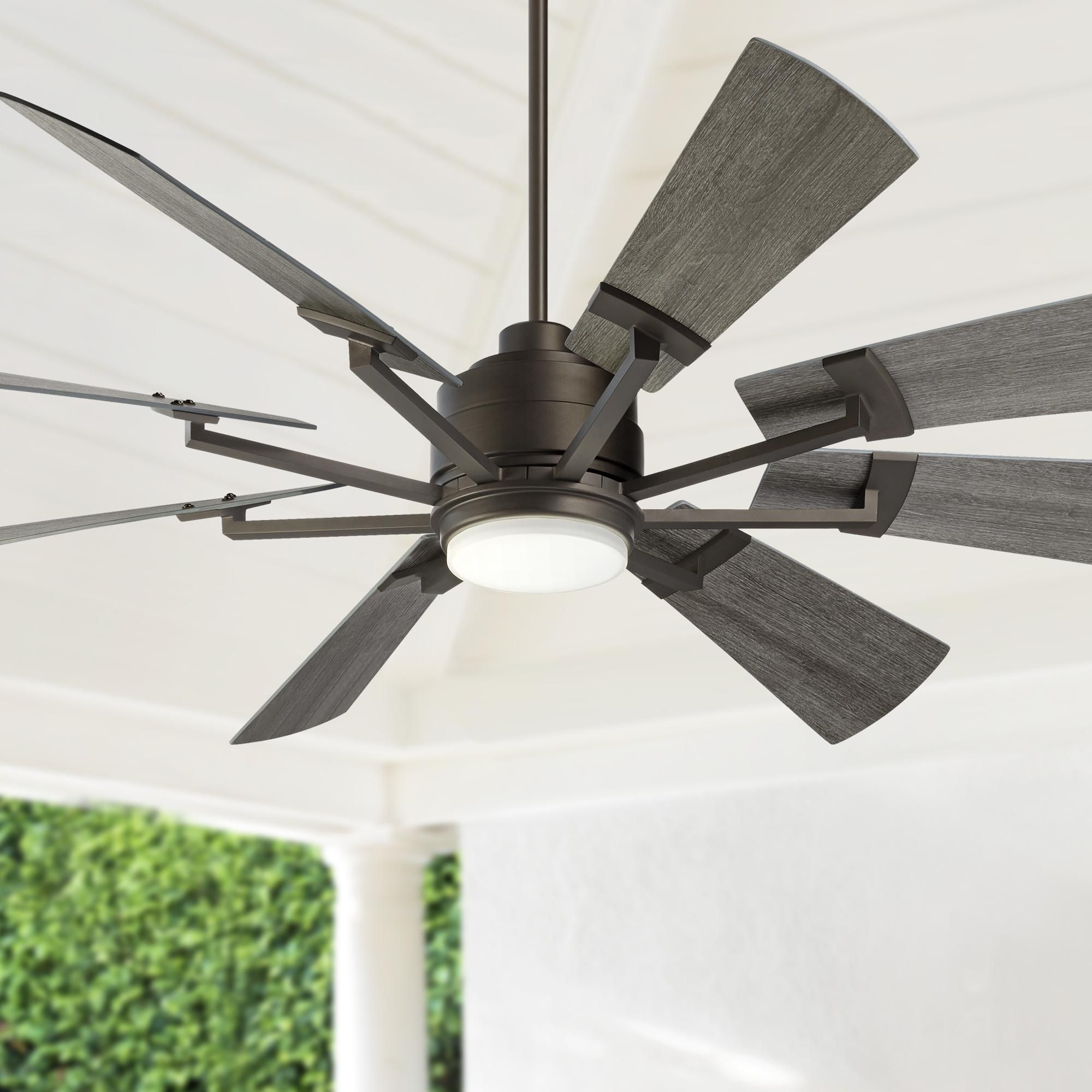 72 Inch Casa Vieja Windmill Gray Oak And Bronze Led Ceiling Fan