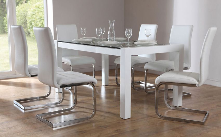 Venice White High Gloss and Glass Dining Table and  Chairs Set
