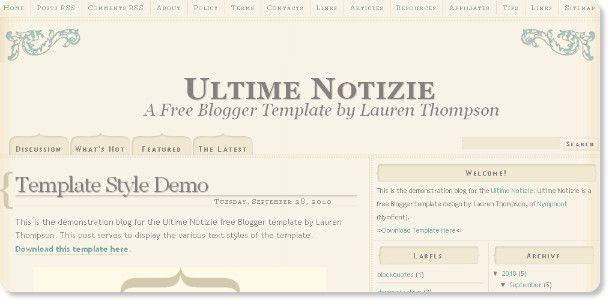 Ultime Notizie Blogger Template Templates Web Design Vintage Fashion