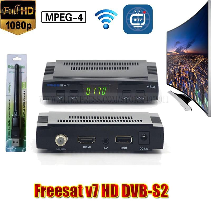 Freesat V7 Satellite Receiver Power Vu Hd Satellite Tv Box With Iptv Usb Wifi Set Top Box Satellite Receiver Satellite Tv Satellites