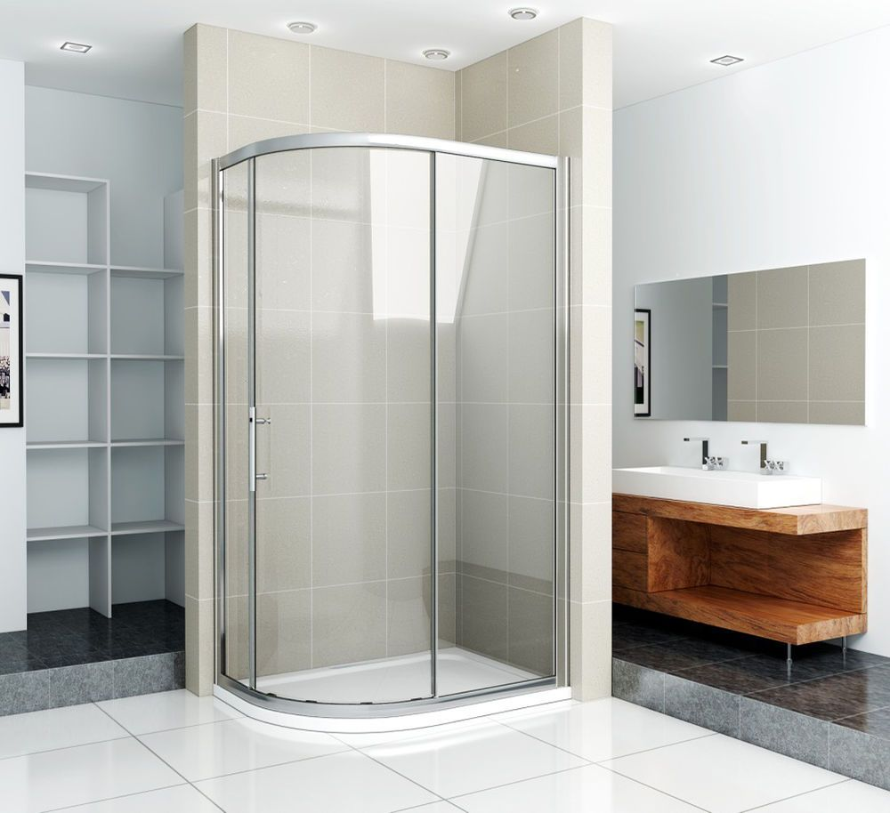 Offset Quadrant Shower Enclosure & Tray Corner Cubicle Glass Screen ...
