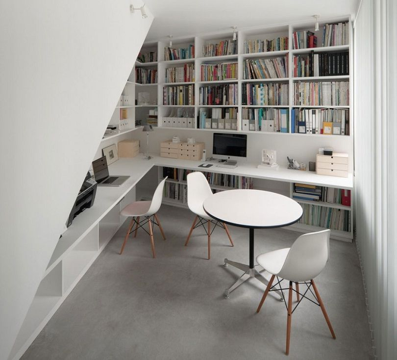 Outstanding Minimalist Home Office Decoration With White