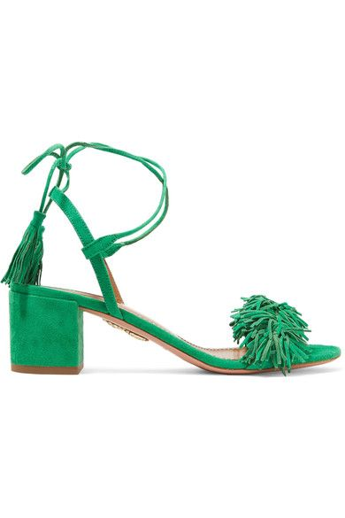 Heel measures approximately 50mm/ 2 inches Green suede Ties at ankle Designer color: Jungle Green  Made in ItalySmall to size. See Size & Fit notes.
