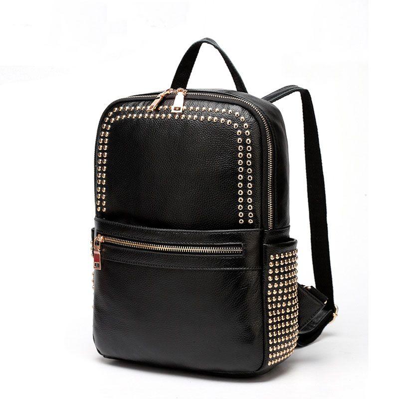 remaches con bolsos cuero VL10481 estilo online mujeres negro Mochila escuela para de de auténtico w8Cqx5I