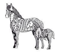 Mandala Pferd Mit Fohlen Neben Ihm Mandala Pferd Pferdezeichnungen Malvorlagen Pferde